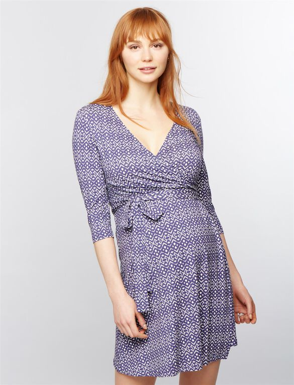 Seraphine Milana Maternity Wrap Dress, Blue Print