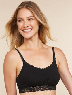 Jessica Simpson Lace Trim Maternity Sleep Bra, Black