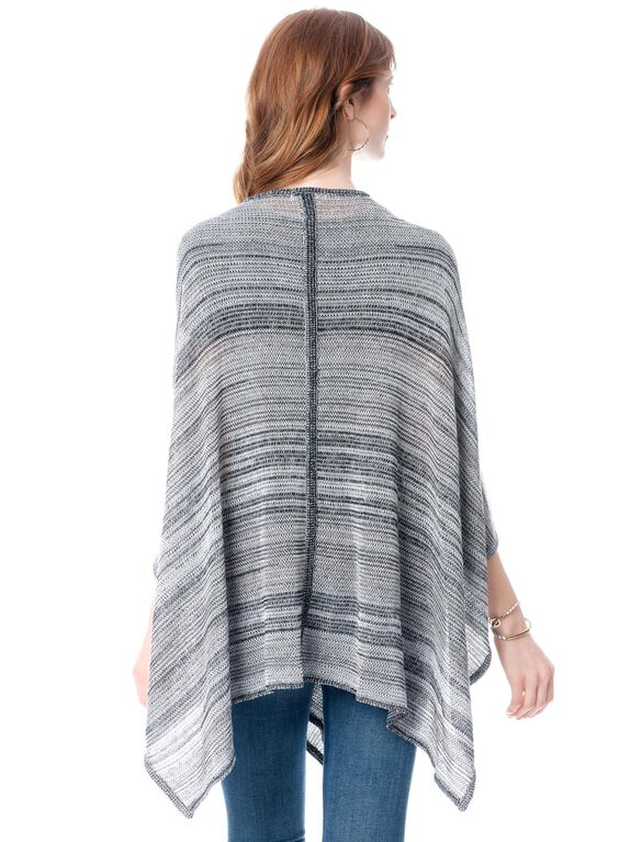 Open Front Maternity Cardigan, Gray Striped