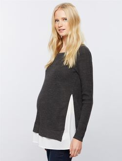 Design History Back Interest Maternity Sweater, Charcoal