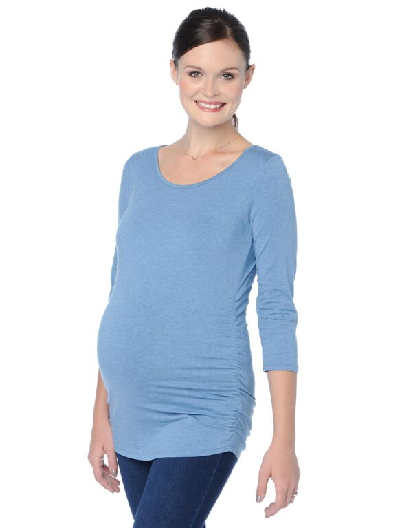 Scoop Neck Side Ruched Maternity Top, Chambray