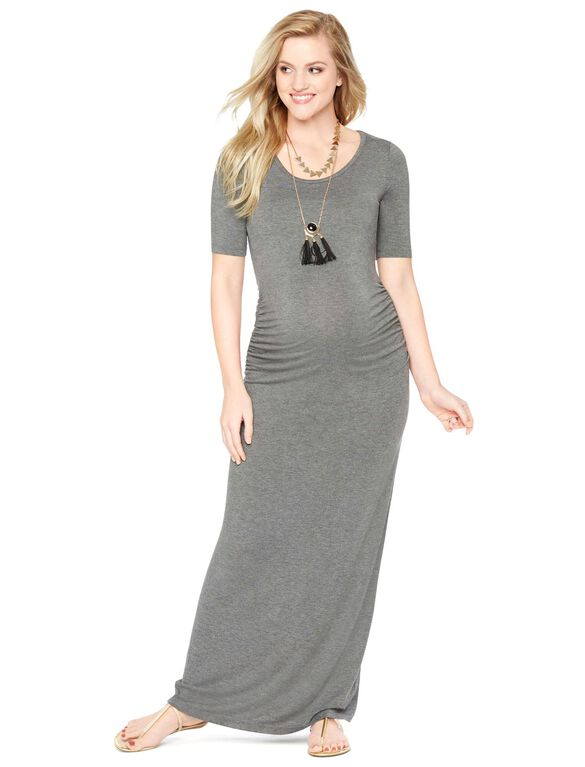 Side Ruched Maternity Maxi Dress, Heather Grey