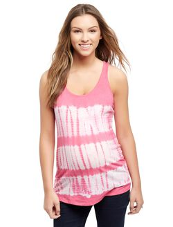 Tie Dye Racerback Maternity Tank, Pink