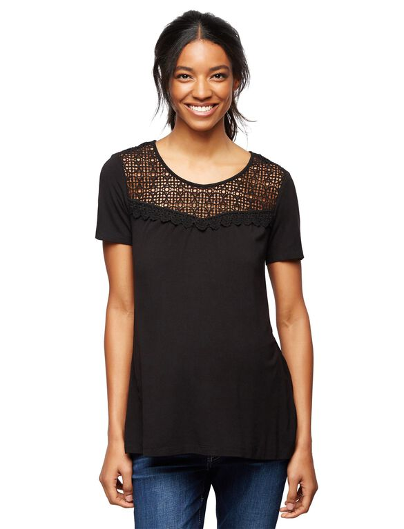 Daniel Rainn Geometric Lace Maternity Top, Corporate Black