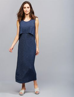 Ripe Pull Down Back Interest Nursing Dress, NAVY
