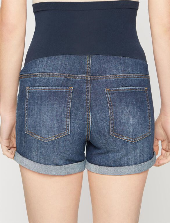 Luxe Essentials Denim Dark Wash Maternity Shorts, Dark Wash