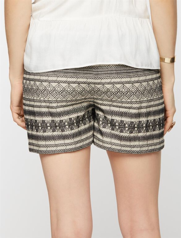 Secret Fit Belly Embroidered Maternity Shorts, Black/Off White