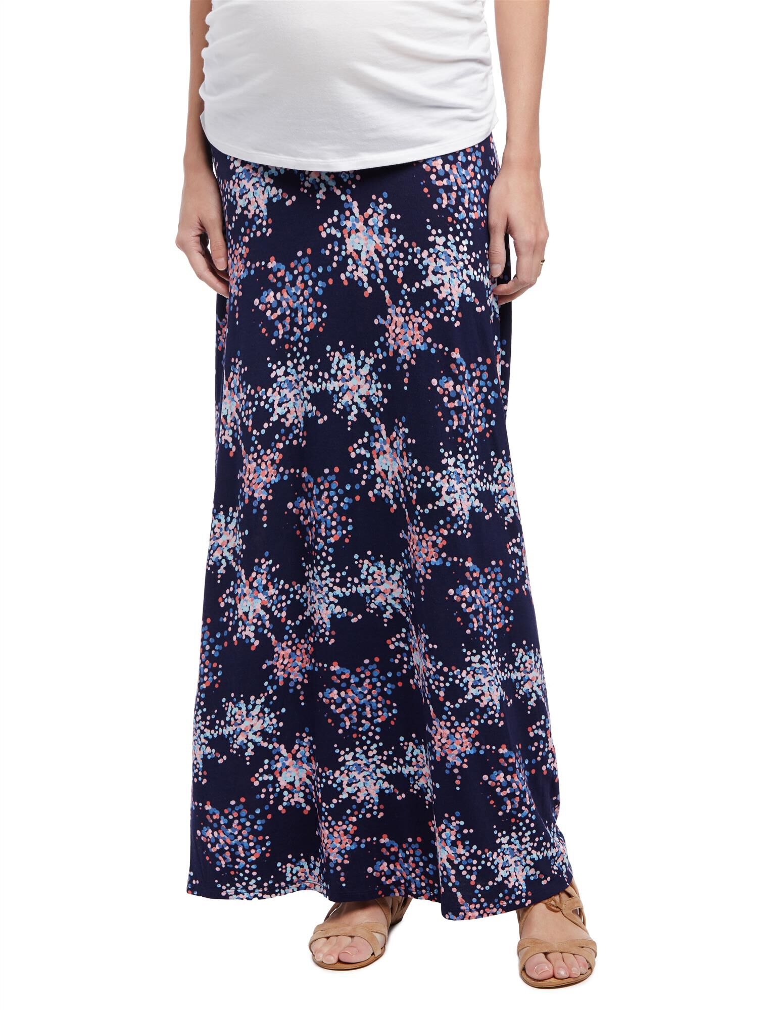 Fold Over Belly Printed Maternity Skirt- Confetti