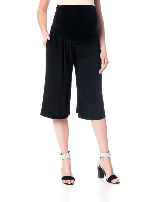 Willow & Clay Secret Fit Belly Crepe Wide Leg Maternity Pants, Black