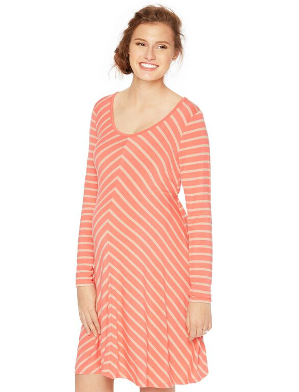 Striped Swing Maternity Dress, Orange/Oat Stripe
