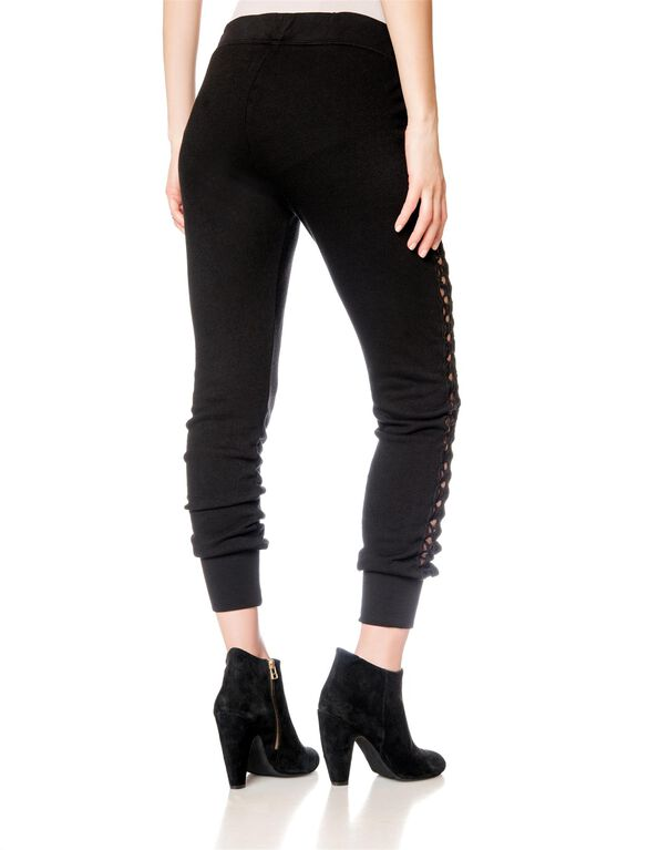 Pull On Style Fleece Maternity Jogger Pant, Black