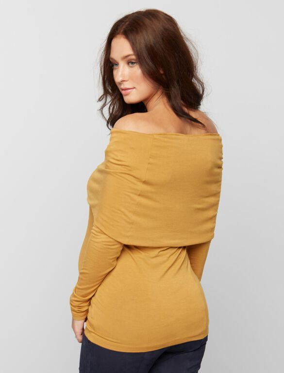 Cowl Off The Shoulder Maternity Top- Amber, Autumn Amber