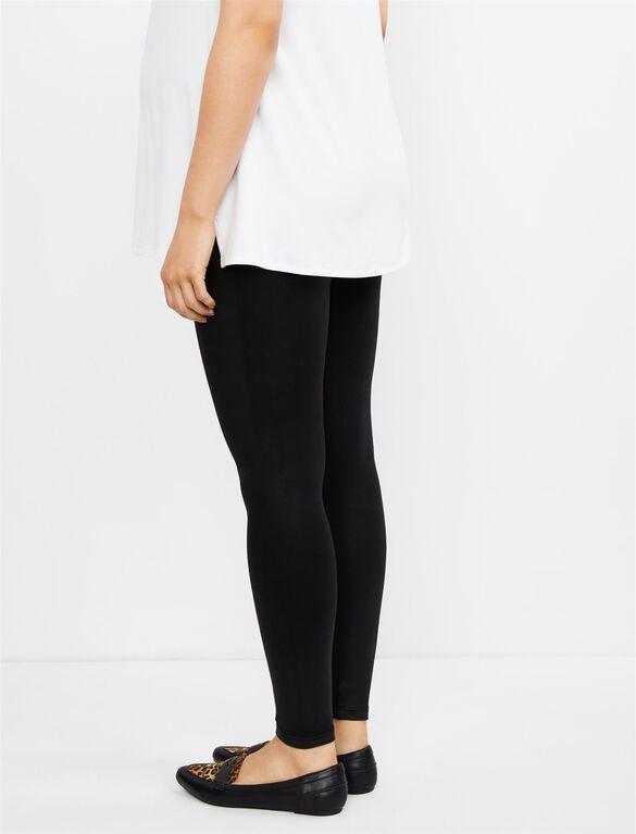 David Lerner Secret Fit Belly Faux Leather Maternity Leggings- Black, Black