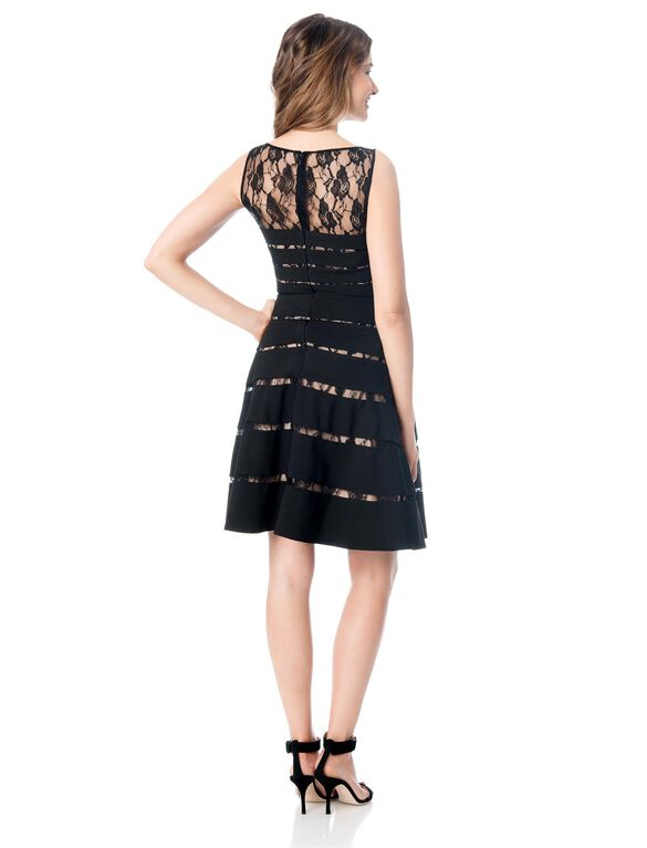 Lace Trim Maternity Dress, Black