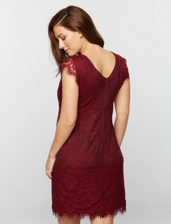 Lace Trim Cap Sleeve Maternity Dress, Fall Burgundy