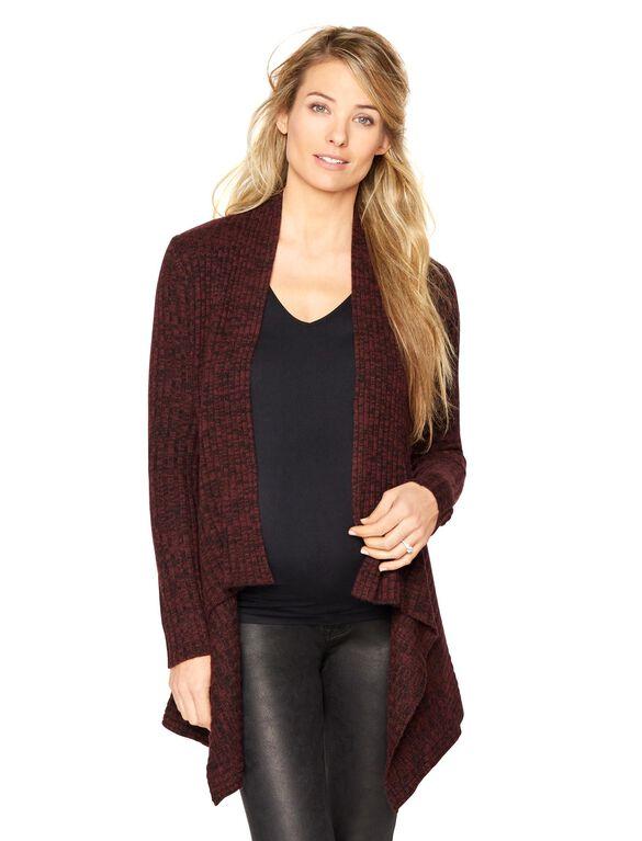 Autumn Cashmere Rib Knit Maternity Cardigan, Wine