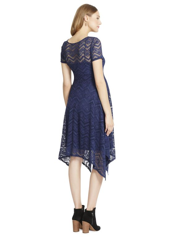 Jessica Simpson Lace Hanky Hem Maternity Dress- Navy, Bright Navy