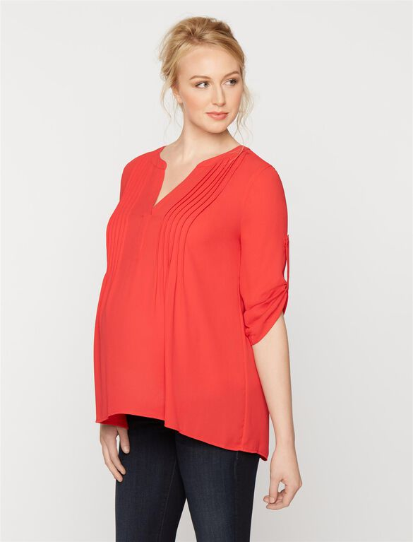 Bcbg Max Azria Pleated Maternity Blouse, Red Berry