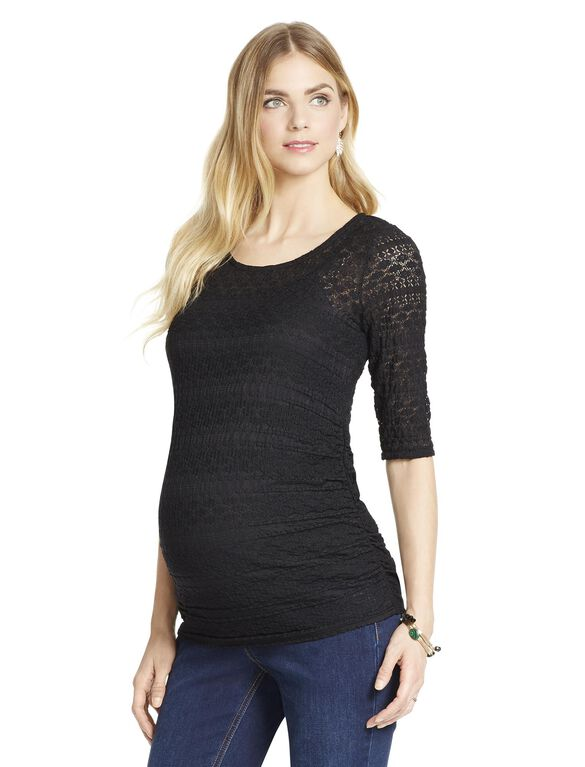 Jessica Simpson Lace Maternity Top, Black