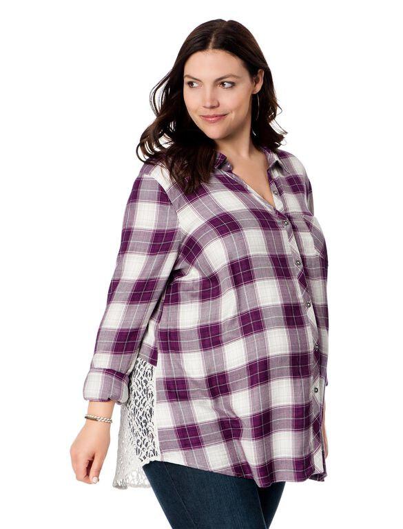 Wendy Bellissimo Plus Size Back Interest Maternity Top, Purple Plaid