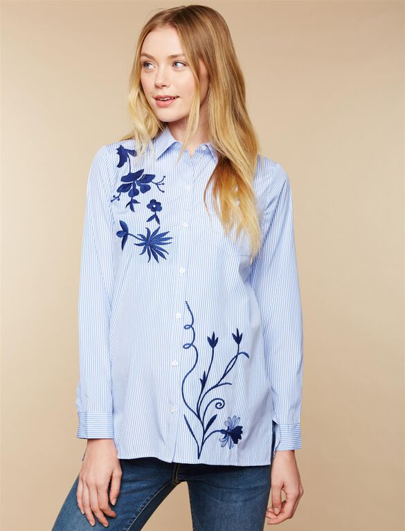 Embroidered Button Front Maternity Shirt, Blue Stripe