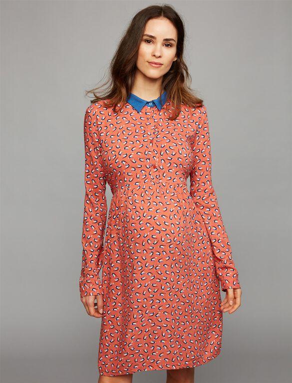 Envie De Fraise Button Front Maternity Dress, Apricot/Blue