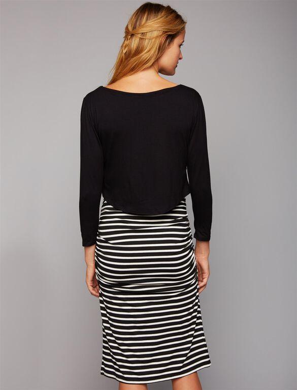 Envie De Fraise Carolle Nursing Dress, Black/Off White Stripe