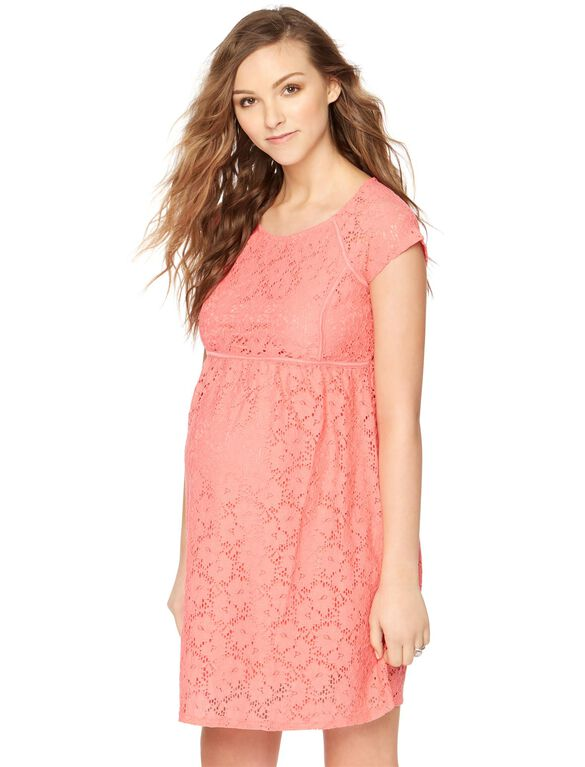 Lace Back Zip Maternity Dress, Coral