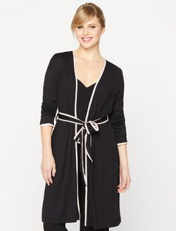 Piped Trim Maternity Robe, Black