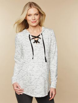 Tie Front Maternity Hoodie, White Spacedye