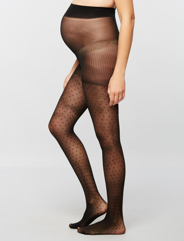 Dot Print Sheer Maternity Pantyhose, Black