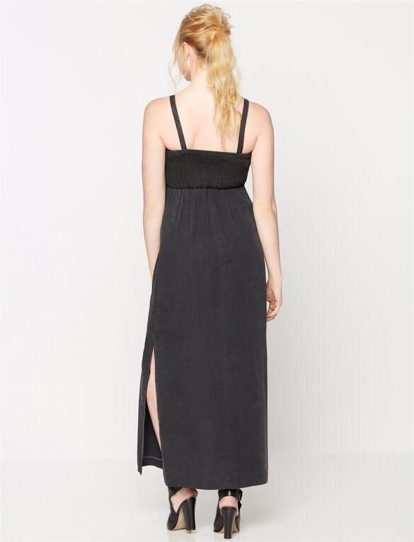 Luxe Essentials Denim Smocked Maternity Maxi Dress, Black