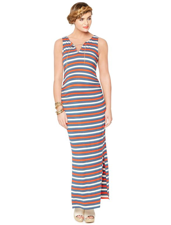 Rachel Zoe Sleeveless V-neck Maternity Maxi Dress, Stripe