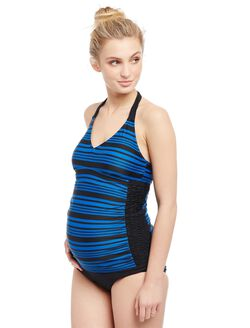 Striped Halter Maternity Swim Top, Blue Color Block Stripe