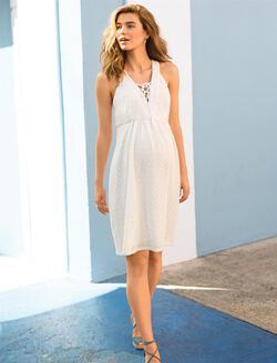Tie Front Lace Maternity Dress, White Lace