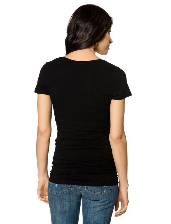Side Ruched Maternity T Shirt, Black