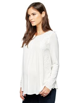 Crochet Detail Maternity T Shirt, White
