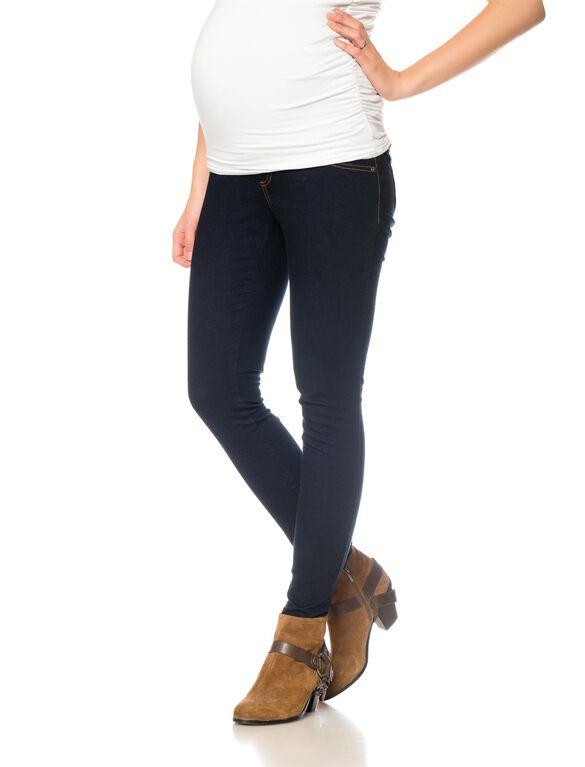 Indigo Blue Petite Skinny Rinsed Maternity Jeans, Modern Rinse