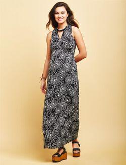Surplice Neckline Maternity Maxi Dress- Black Floral, Black Floral Print