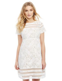 Lace Sheer Detail Maternity Dress, White