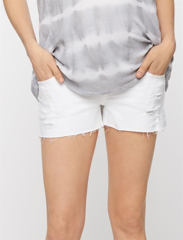 Ag Jeans Secret Fit Belly Bonnie Destructed Maternity Shorts, White