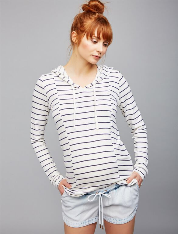 Relaxed Fit Maternity Hoodie, NAVY WHITE STRIPE