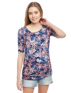 Keyhole Side Ruched Maternity Tee- Print, Multi Ditsy Floral