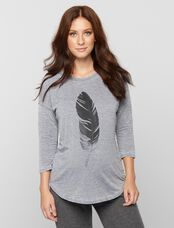 Feather Maternity Tee, White Feather Print