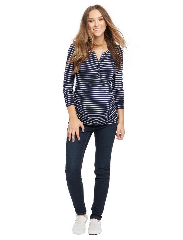 Henley Maternity T Shirt, Navy/White Stripe