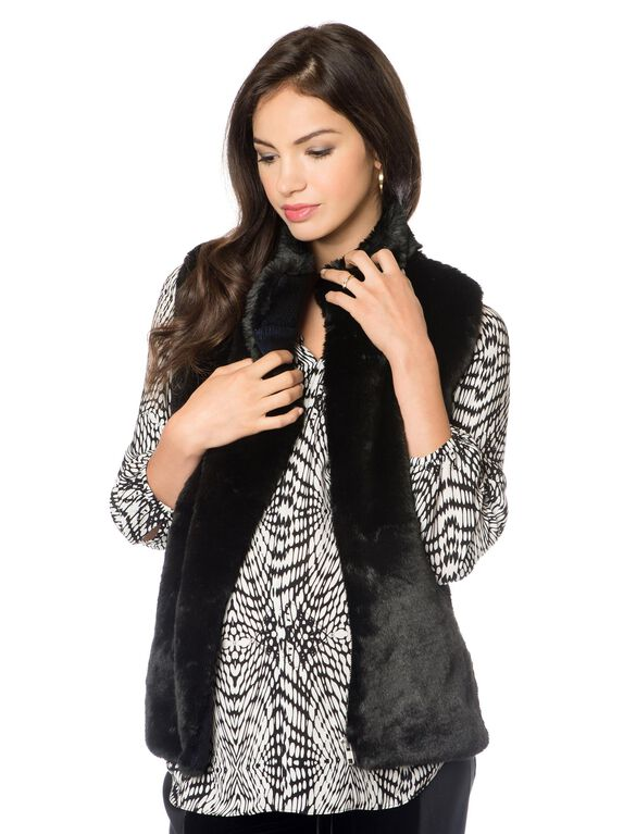 Rebecca Minkoff Faux Fur Rib Knit Maternity Vest, Black