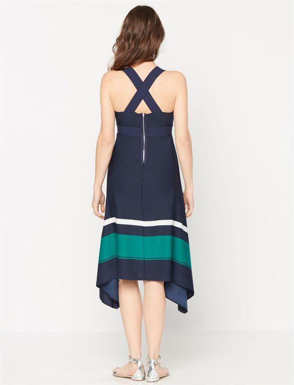 High-low Hem Maternity Dress, Navy Colorblock