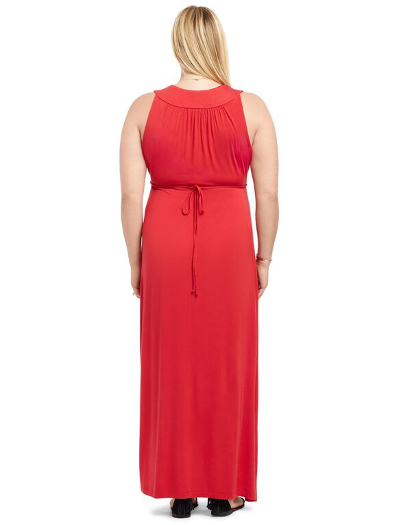 Plus Size Surplice Maternity Maxi Dress- Red, Classic Red