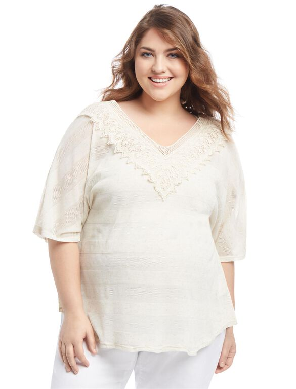 Plus Size Lace Trim Maternity T Shirt, Cream