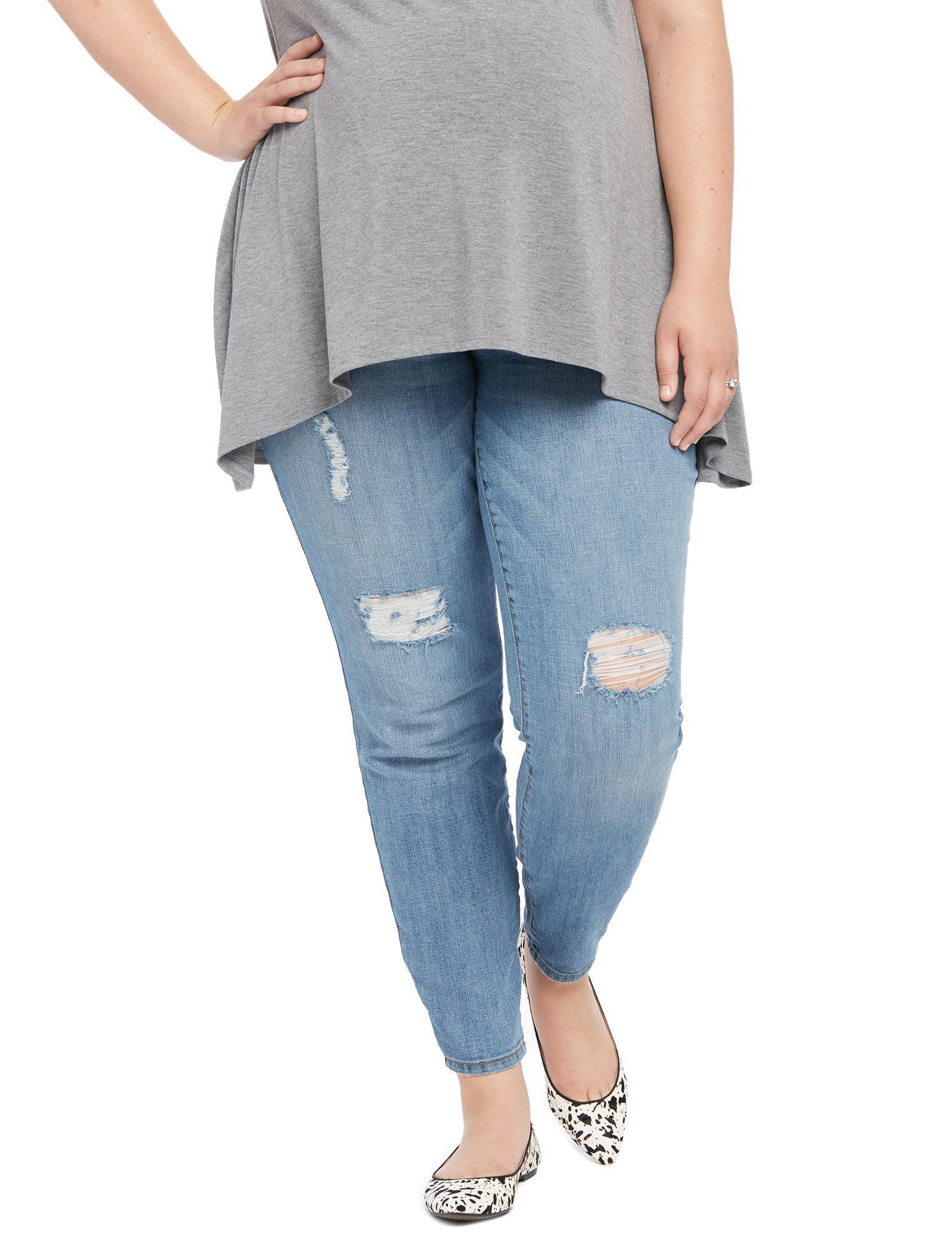 Plus Size Secret Fit Belly Destructed Maternity Jeans